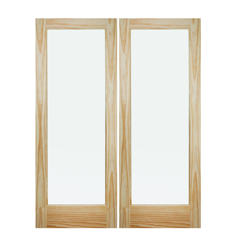 Pine Interior Double French Door - Pre-hung in Jamb - 1 Lite - Frosted Glass - Stain Grade